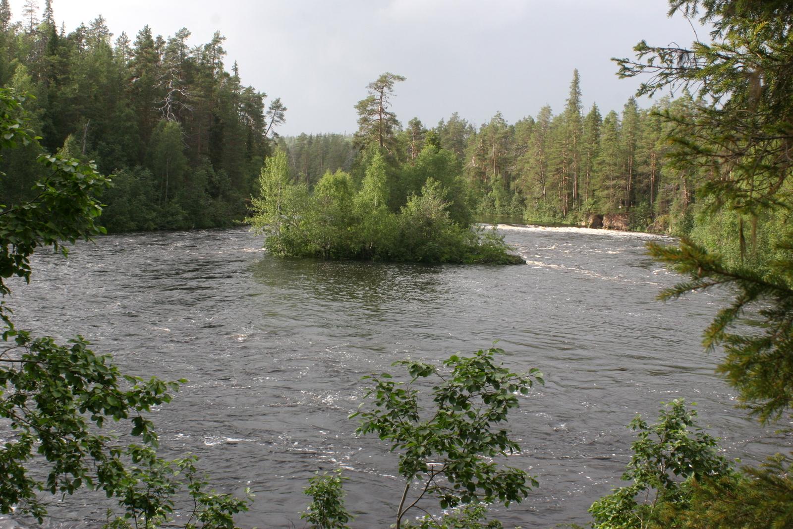 Vielä näkymä joelle, jossa vesi virtaa kohtalaisella vauhdilla.