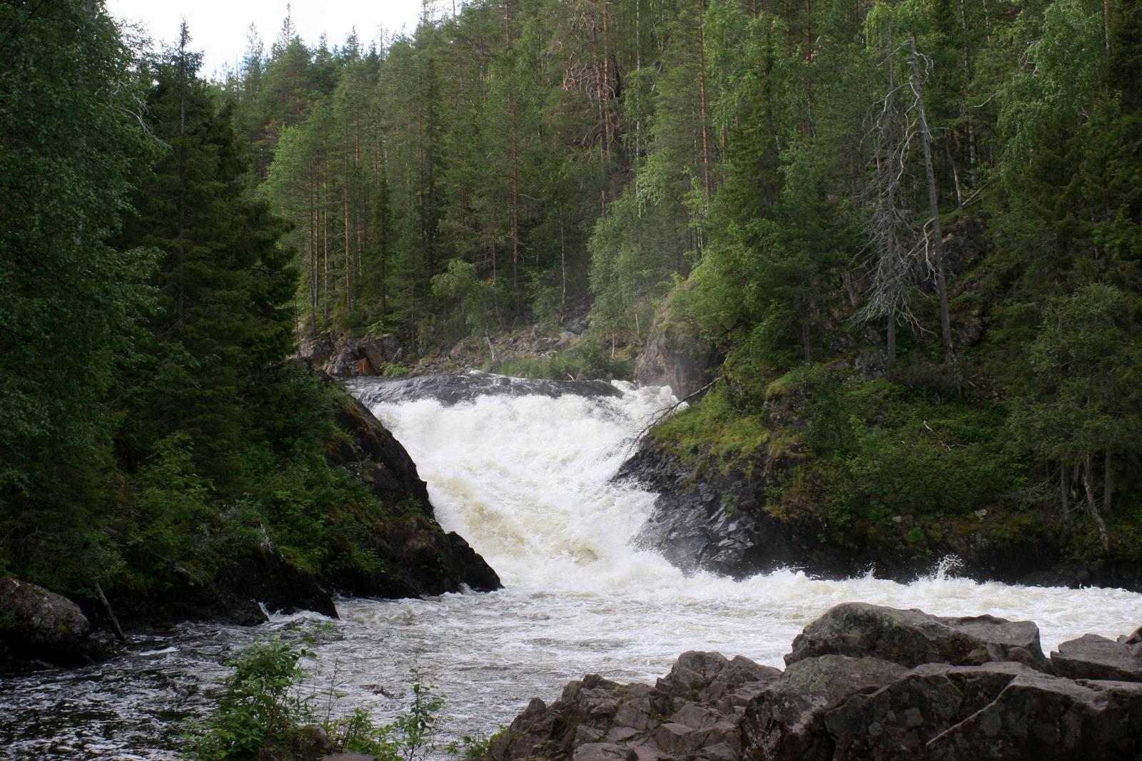Pieni Karhunkierros lasten kanssa. Jyrävä on Suomen suurimpia vesiputouksia. Sillä on korkeutta 9 metriä.