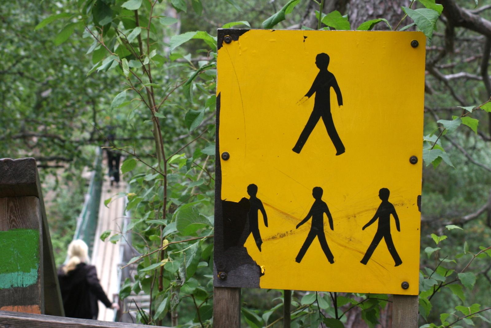 Pieni Karhunkierros lasten kanssa. Riippusillalle sai mennä vain yksi kulkija kerrallaan.