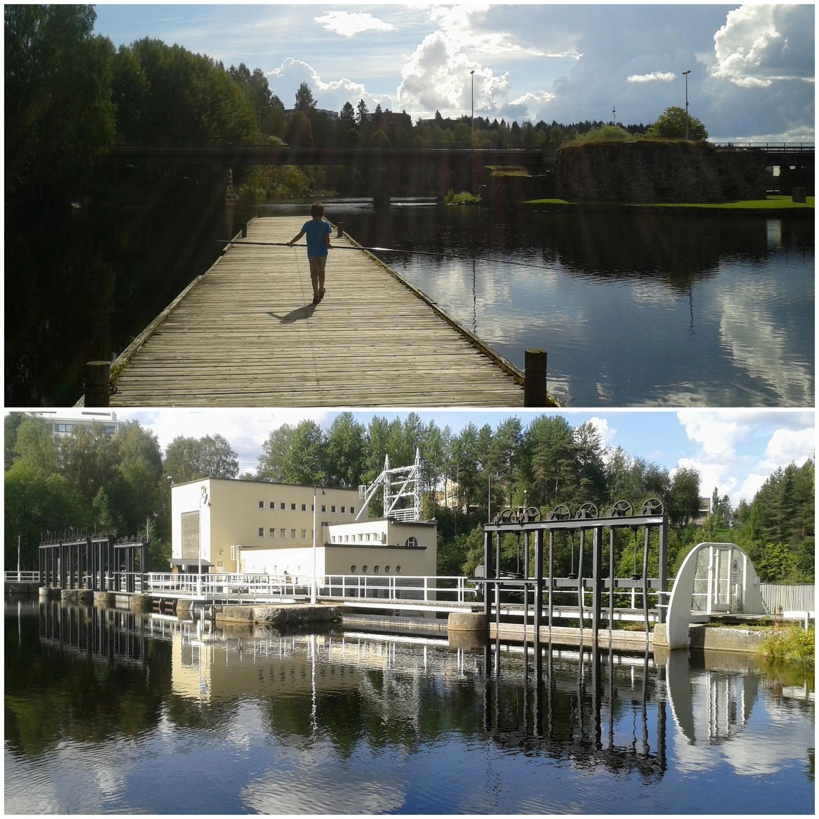 Taukopaikat. Voimalaitos ei äkkiseltään kuulosta niin houkuttelevalta nähtävyydeltä, mutta Kajaanin rantapuistossa se kyllä erottuu edukseen.
