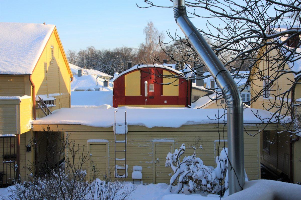 Villa Matkasto, parvekenäkymä talvella